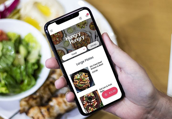 HungryHungry app being used on an iPhone