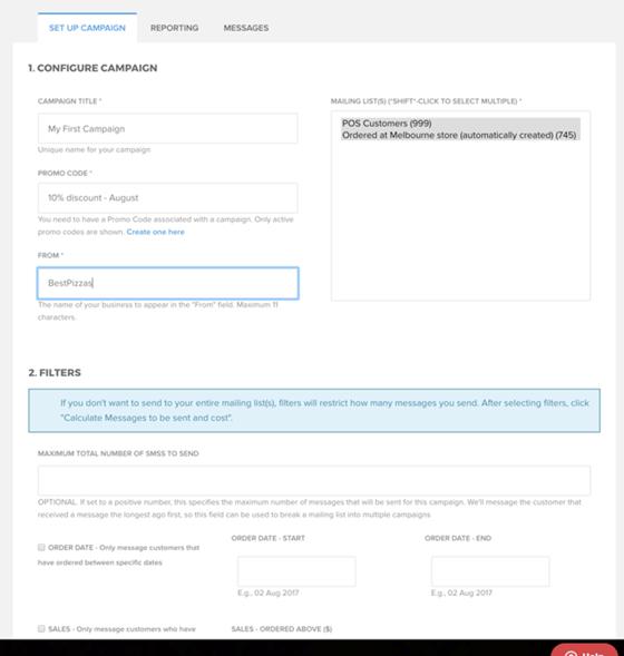 SMS Marketing dashboard