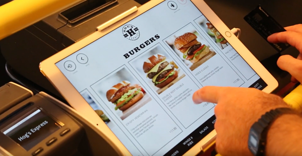 self-service kiosk iPad with burger options