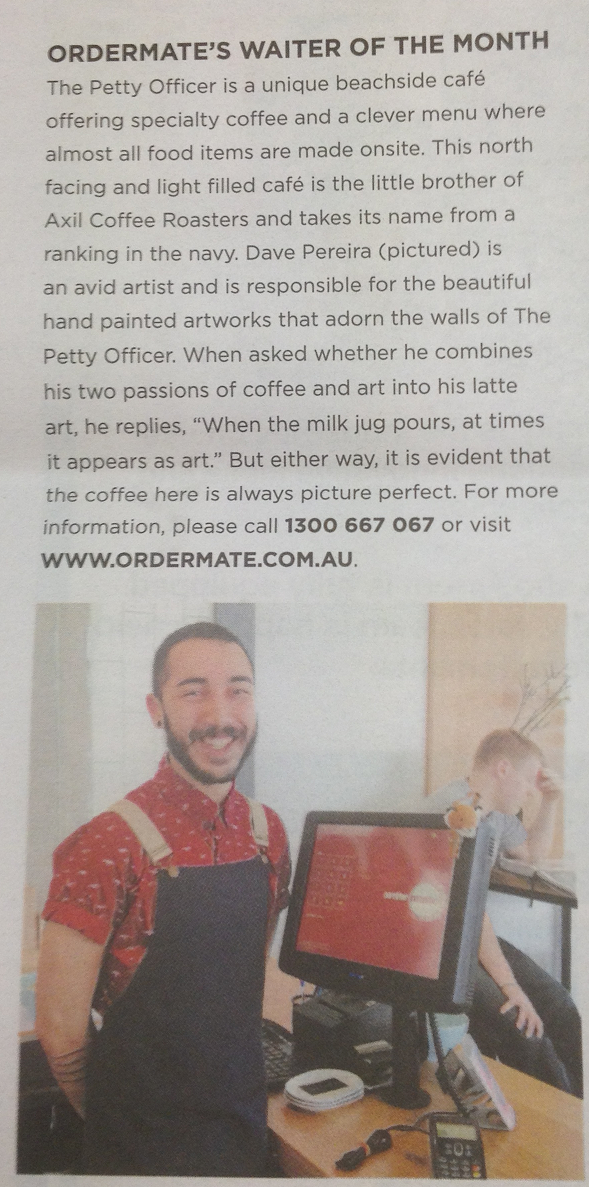 OrderMate's Waiter Of The Month article cut out