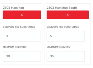 OrderMate Online Minimum order total per suburb/delivery zone