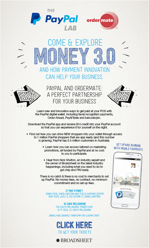 Money 3.0 PayPal and OrderMate events flyer