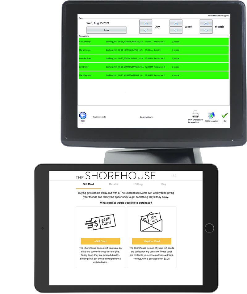 OrderMate POS and Now Book It devices