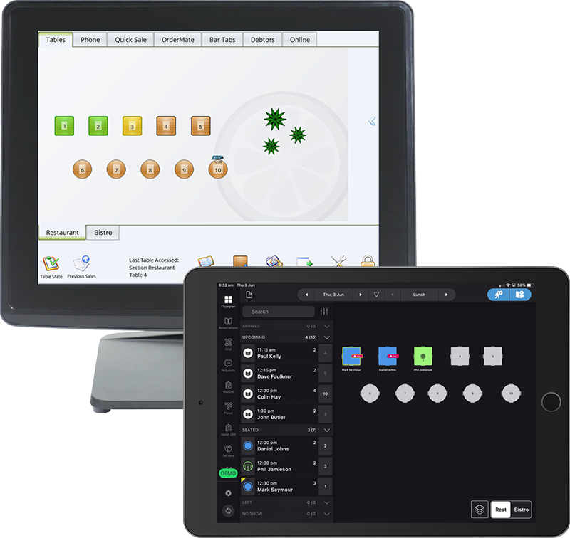 OrderMate and SevenRooms devices