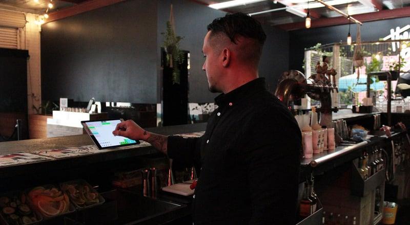 Bar staff using OrderMate POS at The Budgie Smuggler