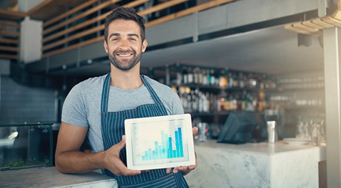 Waiter with reports on ipad