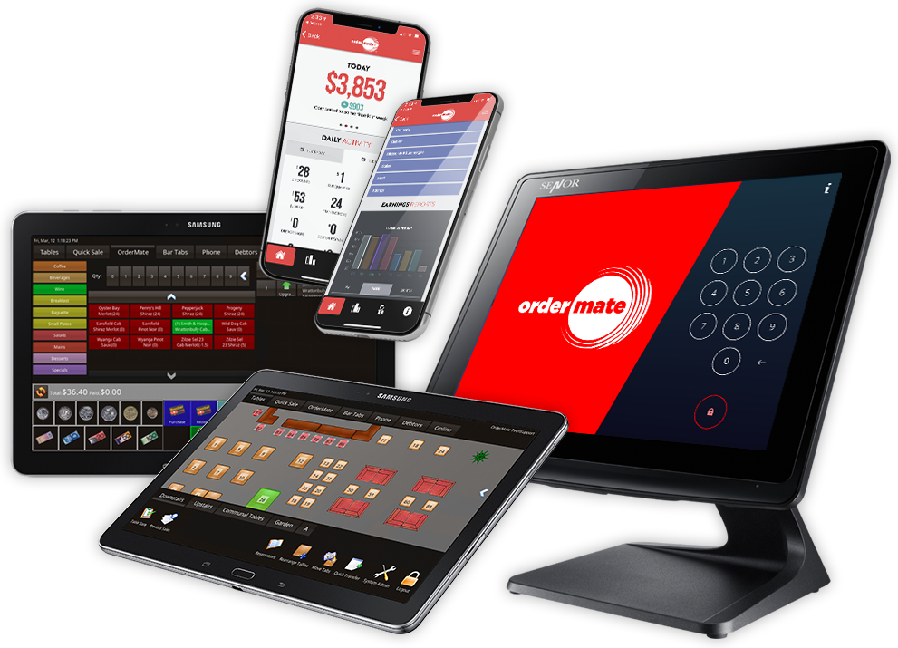 OrderMate terminal, tablets and smartphones