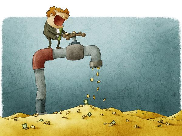 Cartoon tab leaking coins